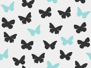 Butterfly seamless pattern. Seamless pattern of butterflies. Black and blue color. Vector illustration.