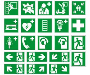 Rettungszeichen Sammlung nach ISO 7010 und ASR