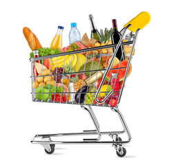 Photo sur cadre textile Assortiment shopping cart filled with fresh tasty food isolated on white background / EInkaufswagen gefüllt mit leckeren frischen Lenbensmitteln isoliert