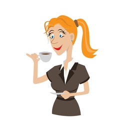 The girl drinks coffee from natural draughts. A hot beverage.vector illustration, cartoon