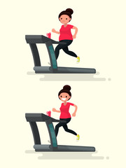 Before and after. Obese woman runs on a treadmill, and she after