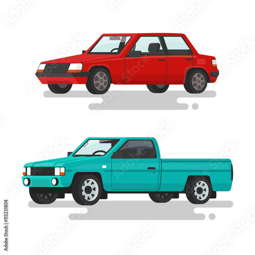 Car Sedan And A Pickup Truck On A White Background Vector