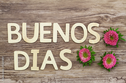 Good Morning Spanish Text : Quot buenos dias good morning in spanish written with wooden