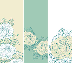 a set of romantic English style bookmarks with roses in ivory and green shades