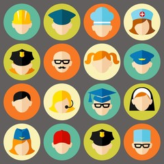Set of avatars people . Flat style vector icons set