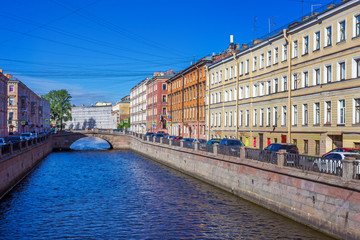 Bridge on the channel of Griboedov in St Petersburg, Russia