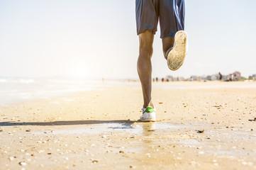Athlete running man outdoor.