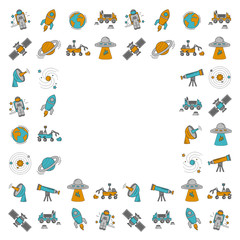 Vector set of space and astronomy icons