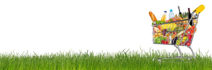 shopping cart filled with fresh tasty food on green grass isolated on white background / EInkaufswagen gefüllt mit leckeren frischen Lenbensmitteln auf grüner wiese isoliert