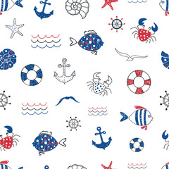 Cute marine life doodle seamless pattern. Vector sea background with fish, crab, starfifh, anchor, seagull. Suitable for wallpaper, wrapping paper, web page background, summer  cards design.