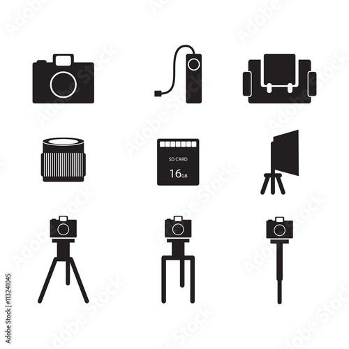 Photography Icon Camera Lens Tripod Monopod Sd Card Bag