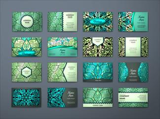 Vector vintage business cards big set..