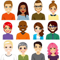 Collection of twelve different people avatar portraits from diverse ethnicity and age