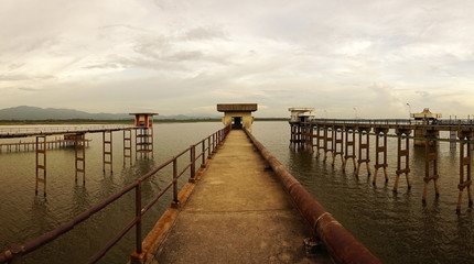 The long bridge on reservoir ,Chonburi Thailand.