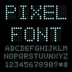 Retro computer font. Circle pixel alphabet. Vector