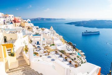 Obraz Fira, Santorini wyspa, powulkaniczna kaldera, Santorini, Grecja - fototapety do salonu