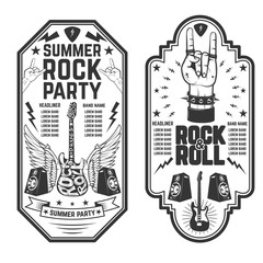 Rock and roll party flyer template. Vector illustration