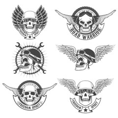 Set of motorcycle club labels templates.Skulls in motorcycle hel