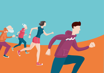 Marathon. Group of running people. Cartoon flat style