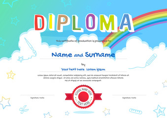 Colorful kids diploma certificate in cartoon style with sky and rainbow