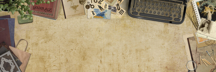 Vintage desk with creative retro items - top view - banner