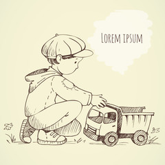 Little Boy with a toy car. Hand drawing sketch. Background for text