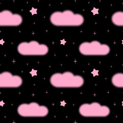 cute black night with pink clouds and stars seamless pattern background illustration