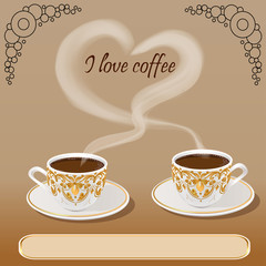 Illustration of vector background with a fresh Cup of aromatic c