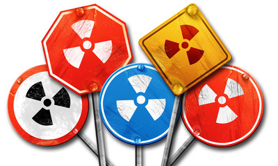 Nuclear danger background, 3D rendering, rough street sign colle