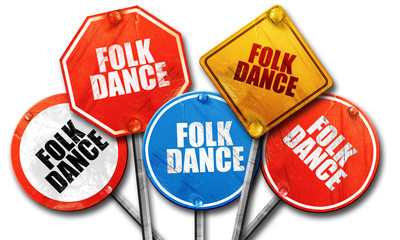 folk dance, 3D rendering, rough street sign collection