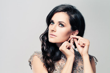 Fashionable Brunette Woman with Diamond Earrings