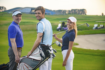 Attractive family on golf course