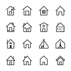 Outline Vector House Icon Set