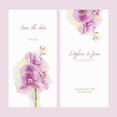 Save the date. Love card with watercolor orchid.