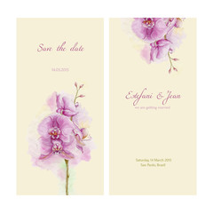 Save the date. Love card with orchid on yellow background.