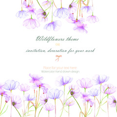 Background, invitation card, template postcard with the tender purple cosmos flowers, hand drawn on a white background, background for your card and work