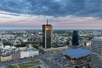 Aerial view of Warsaw downtown at dusk time