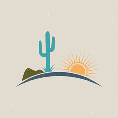 Desert illustration logo vintage style. Vectoir graphic design