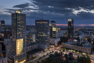 Aerial view of  Warsaw  Financial Center at night