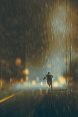 man running in heavy rainy night,illustration