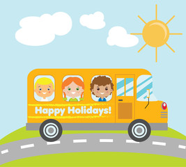Kids travelling in yellow school bus. Summer holidays children theme vector illustration
