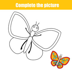 Complete the picture children educational drawing game, coloring page for kids