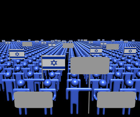 Crowd of people with signs and Israeli flags illustration