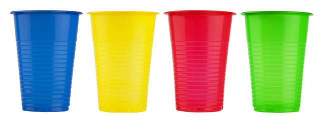 Multicolor disposable plastic cups