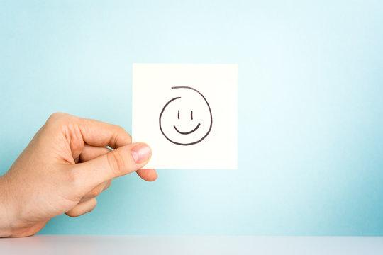 Happy employee. Emoticon, feelings, illustration, motivation.