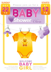 Baby shower girl invitation design with body suit, socks, soother in yellow, pink and purple color on white background. Cute duckling icon