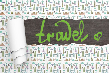 Travel concept ripped wallpaper