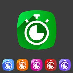 Timer, stopwatch clock icon flat web sign symbol logo label