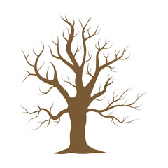 Old tree vector icon in cartoon style for web