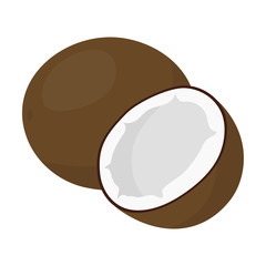 Coconut icon cartoon. Singe fruit icon.
